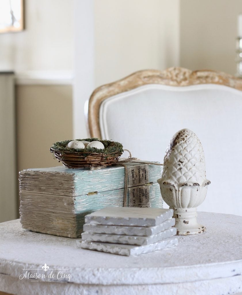 five spring decorating tips eggs in nest spring vignette french country style room