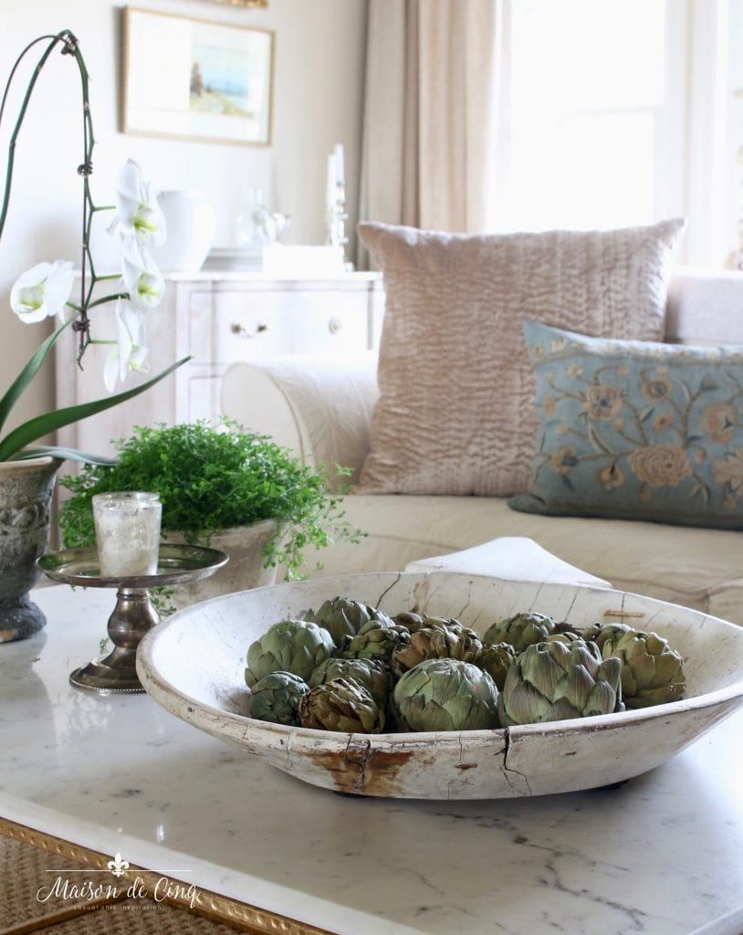 five spring decorating tips artichokes in antique bowl french country