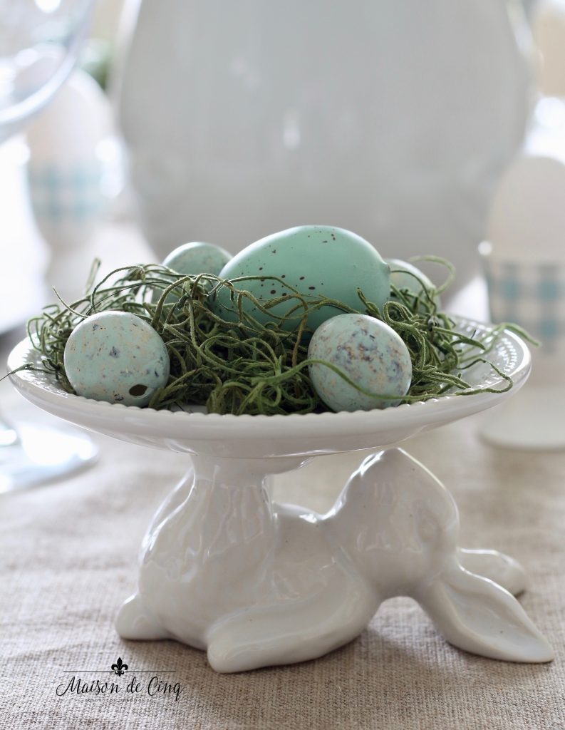 spring tablescape white ceramic bunny cupcake stand with robins' egg blue eggs