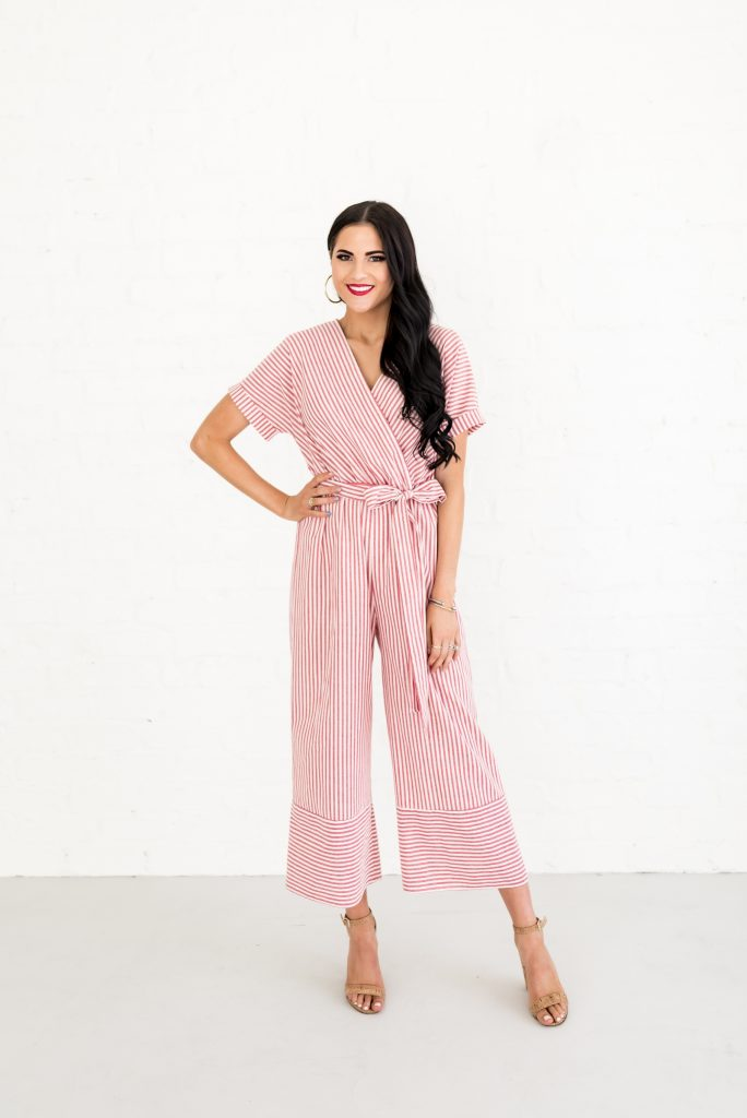 jumpsuit trend wrap red and white striped style