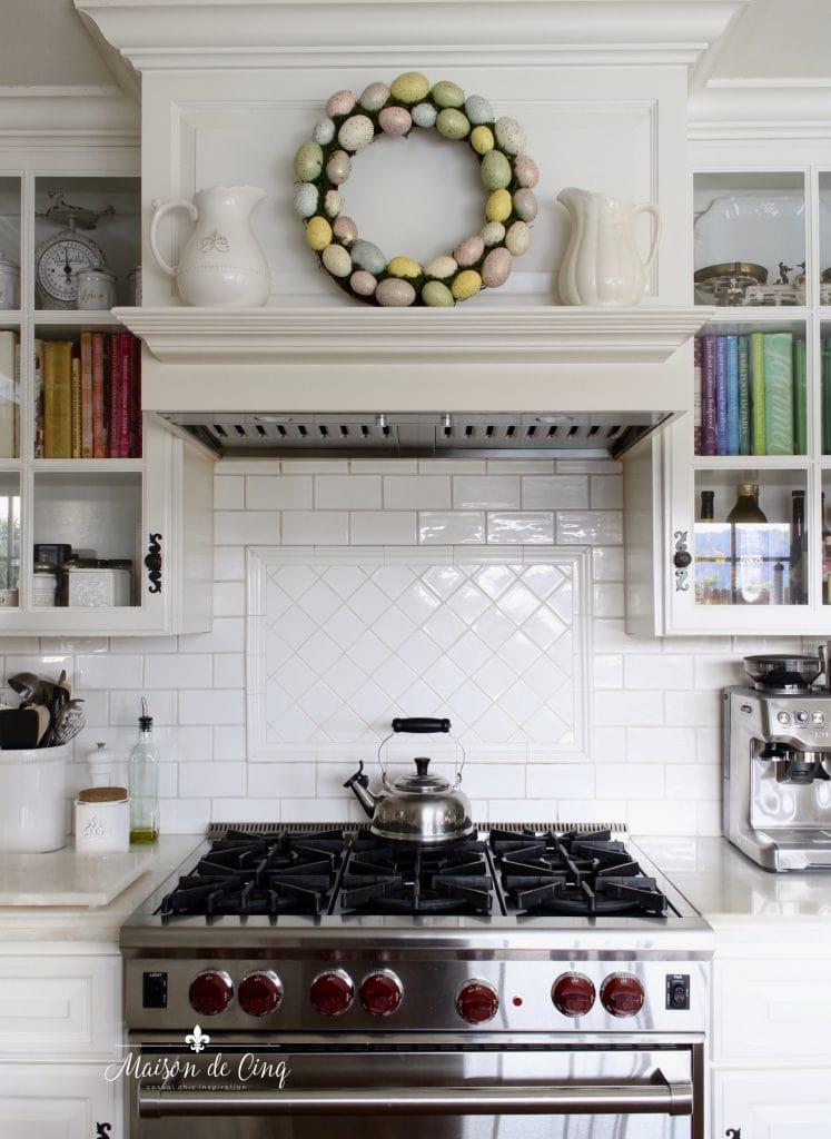 Easter decorating egg wreath white kitchen range mantel decor white subway tile farmhouse kitchen
