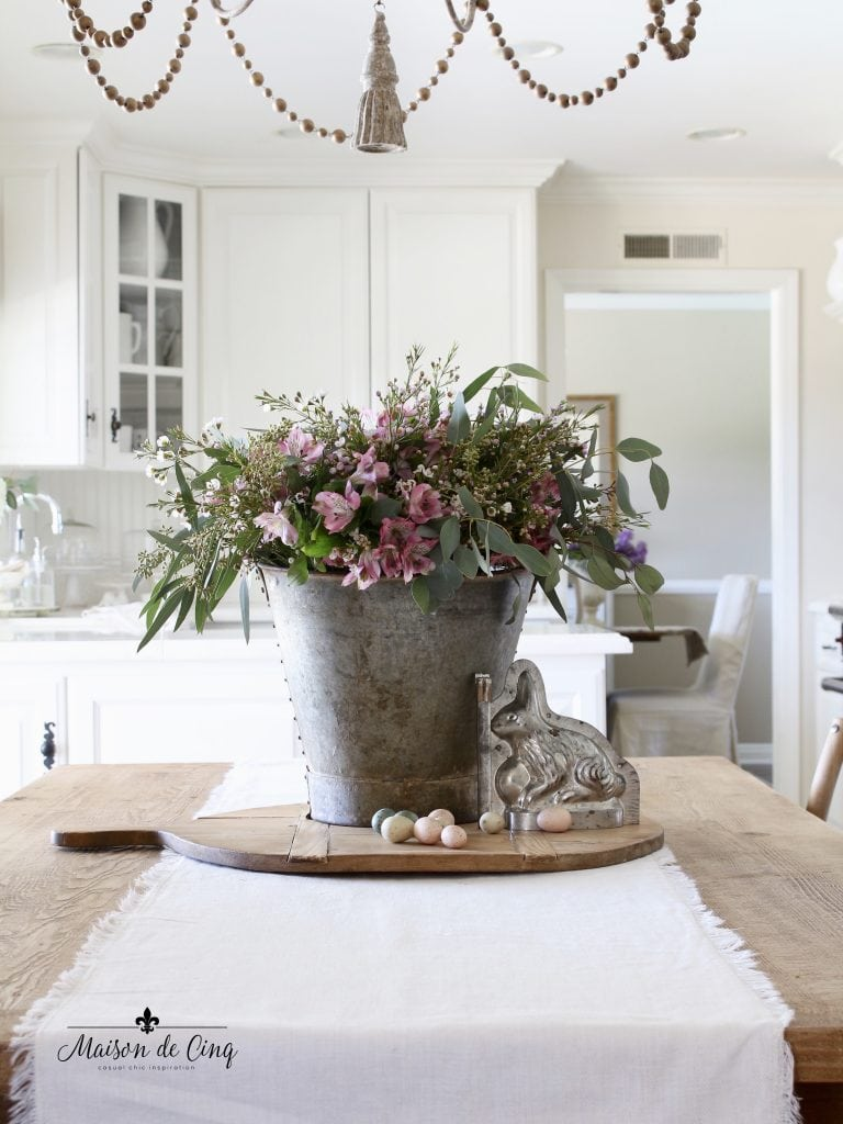 Easter decorating pink flowers in rustic vintage bucket bunny mold french country style kitchen