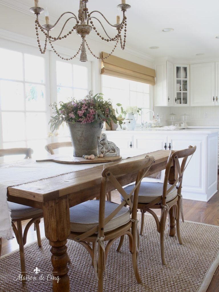 Easter decorating white farmhouse kitchen pink flowers bunnies eggs french country style