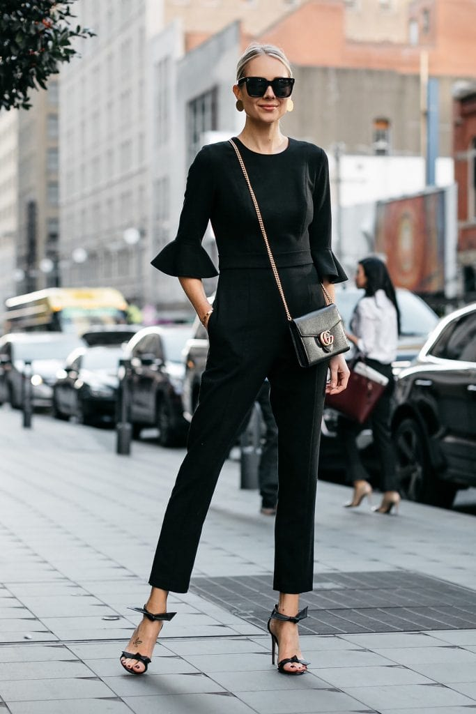 jumpsuit trend ruffled sleeves black elegant street style fashion