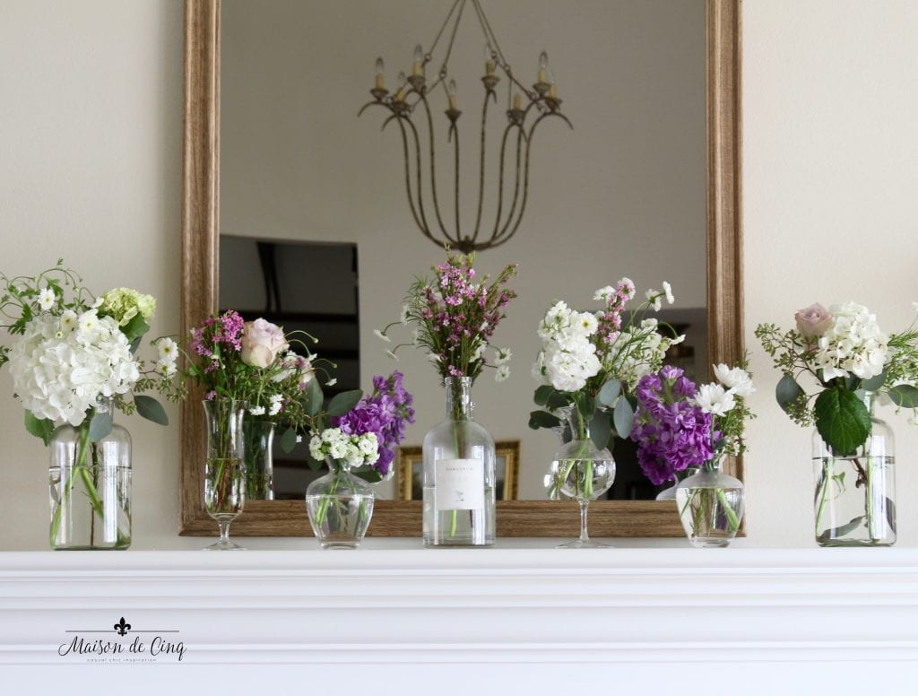 simple spring mantel with flowers spring decor