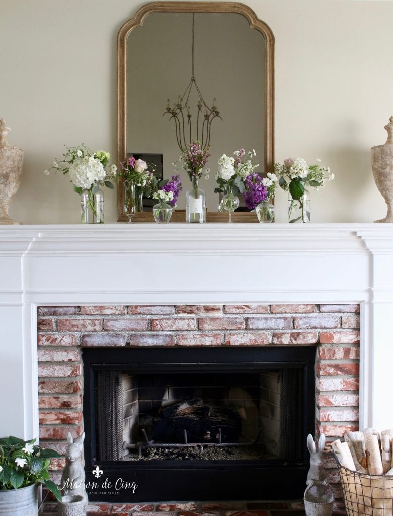 simple spring mantel french country style living room mirror flowers