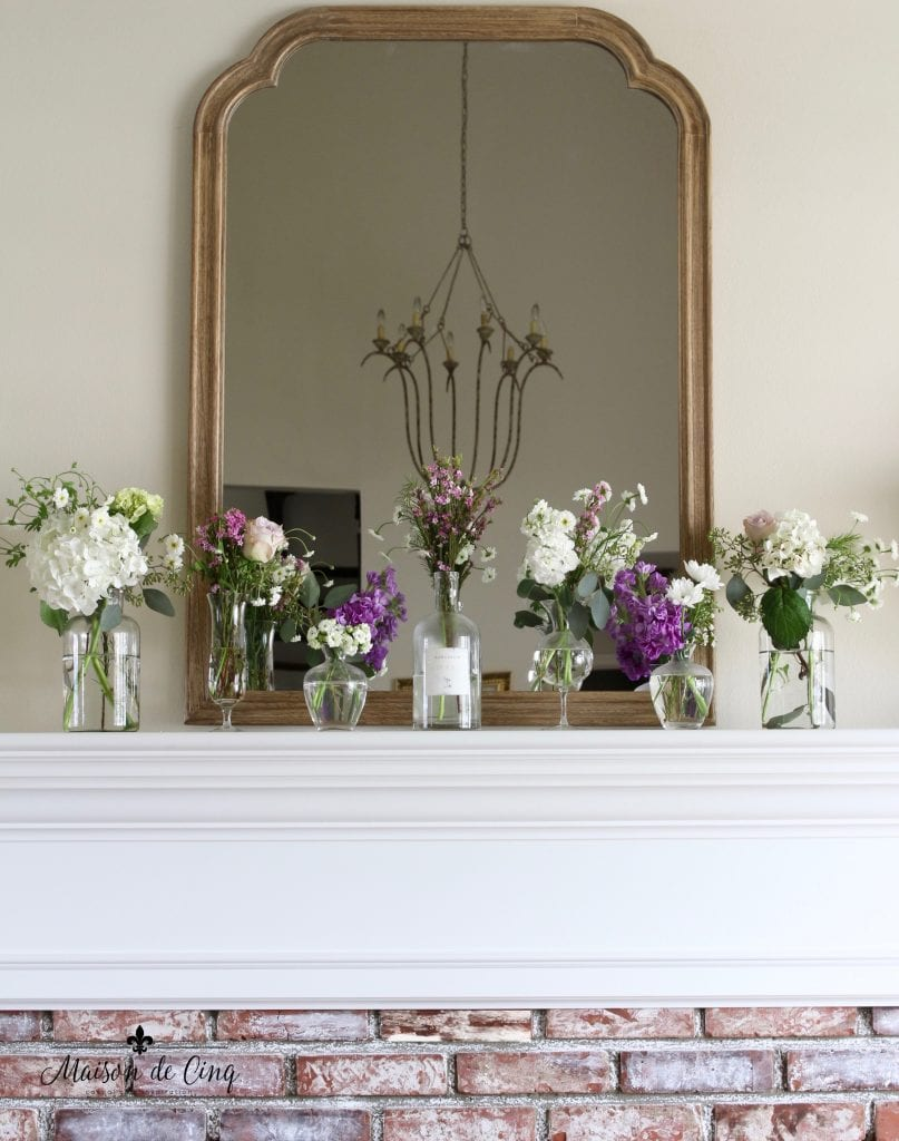simple spring mantel french country wood mirror over mantel with flowers