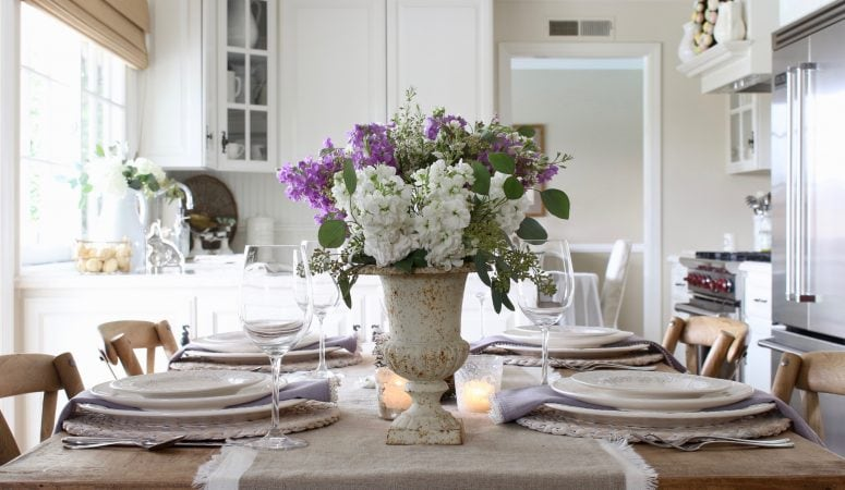 Romantic Spring Table Setting with Purple Stock & Vintage Elements