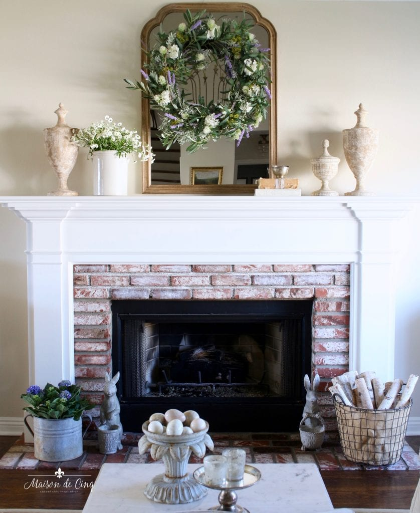 spring decorating french country living room fireplace mantel decor wreath