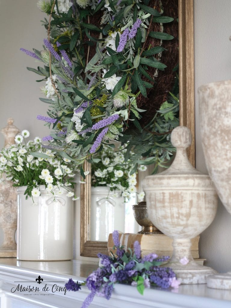 spring decorating gorgeous lavender sprigs, urns and wreath decorating french country style mantel