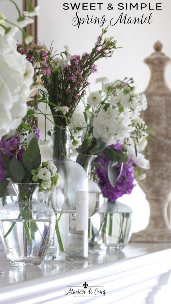 sweet and simple spring mantel purple and white flowers
