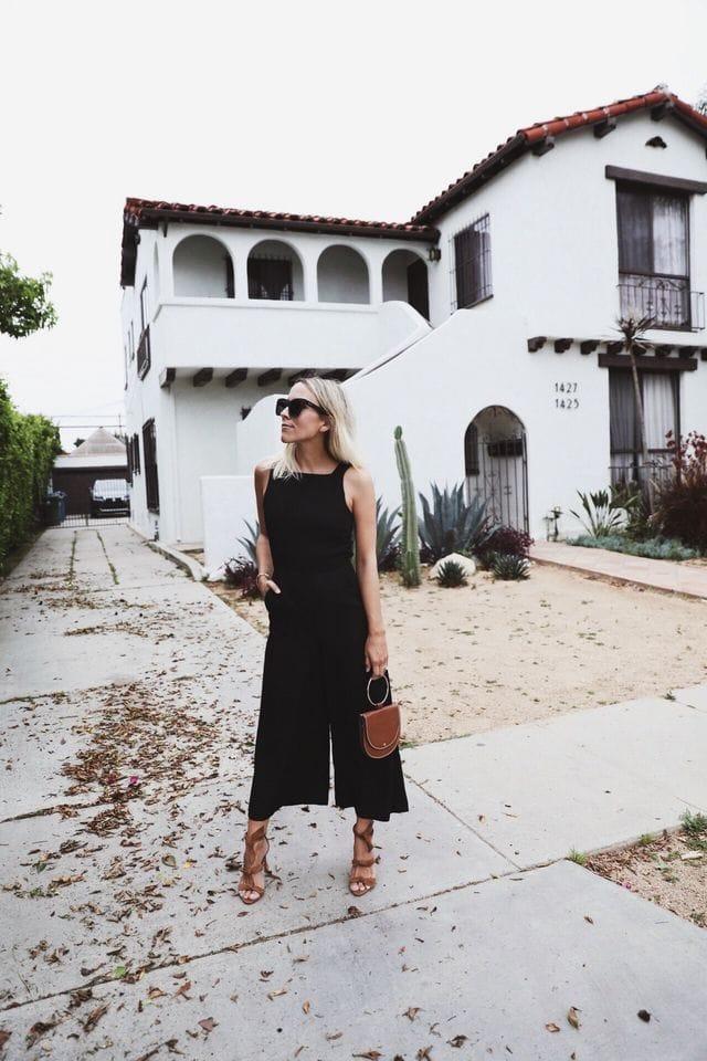 jumpsuit trend black chic street style