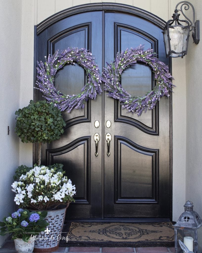 spring decorating french country front porch lavender wreaths white flowers