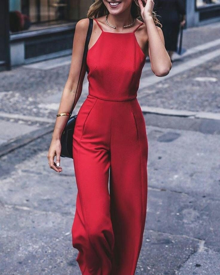 jumpsuit trend red strappy jumpsuit chic fashion style