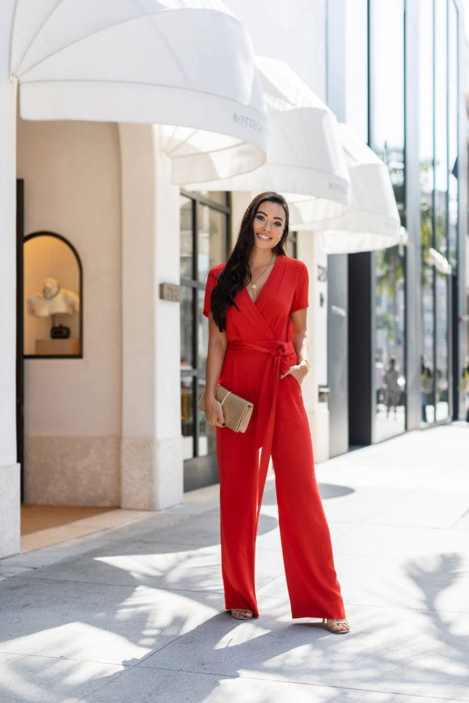 jumpsuit trend red wrap style elegant fashion