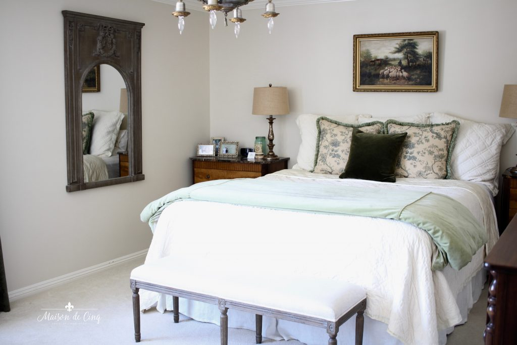 master bedroom before french country room mirror bench bed
