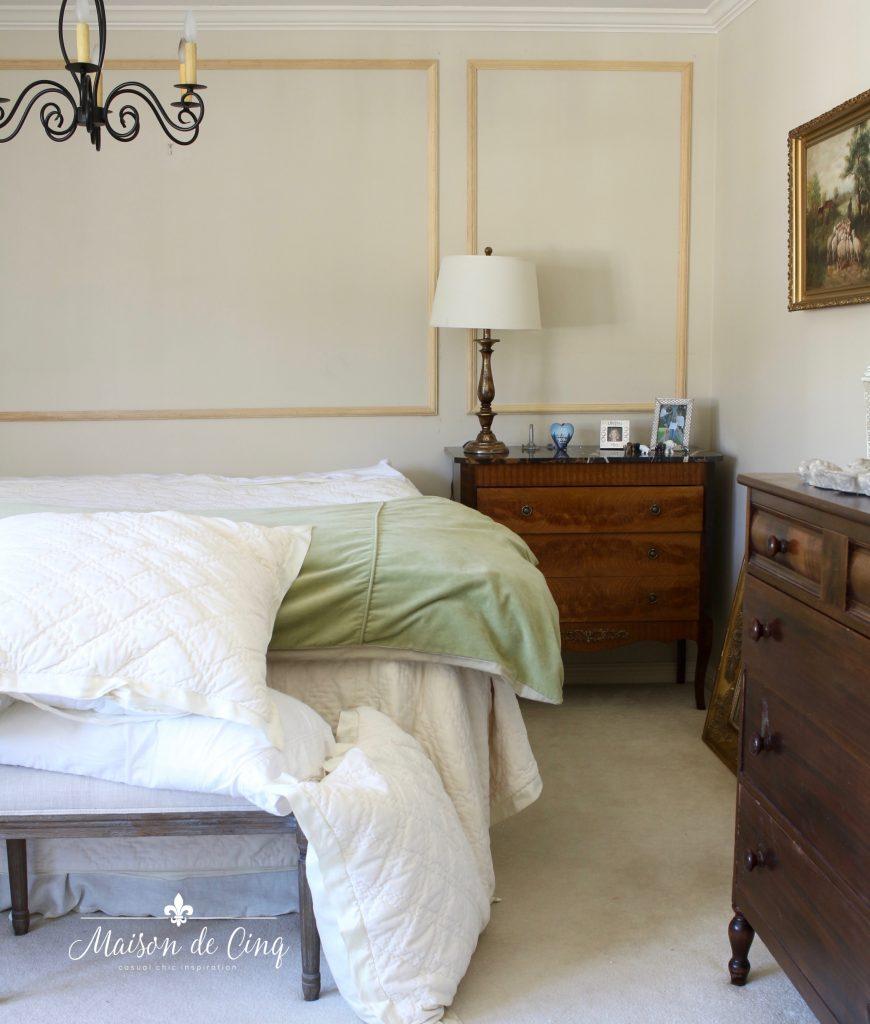 master bedroom remodel wood wall trim work is in!