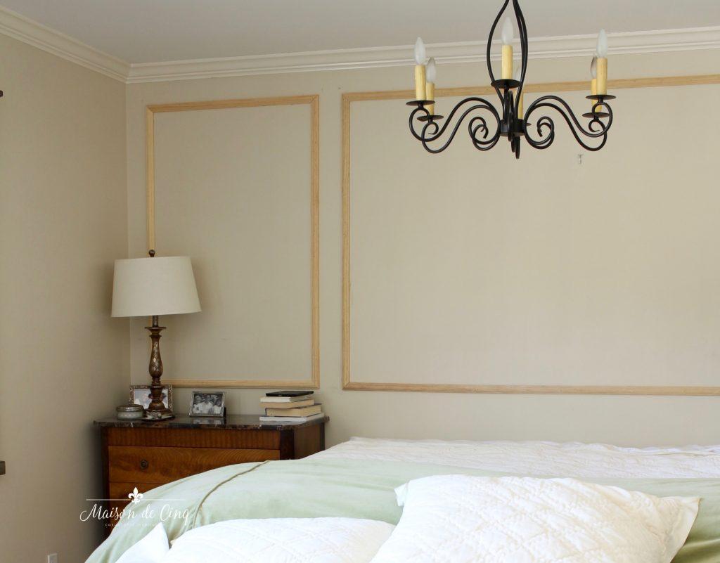 one room challenge wood wall trim work master bedroom