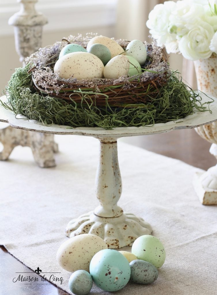 spring decorating with eggs and nests cute easter decor idea