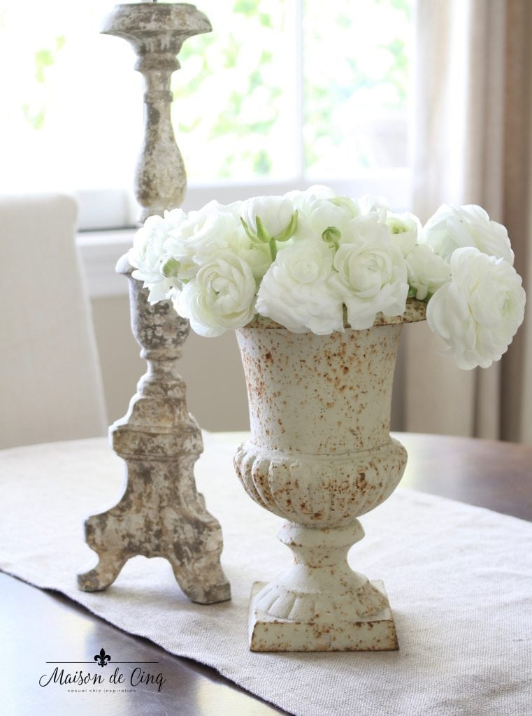 gorgeous French urn with white flowers dining room spring decor