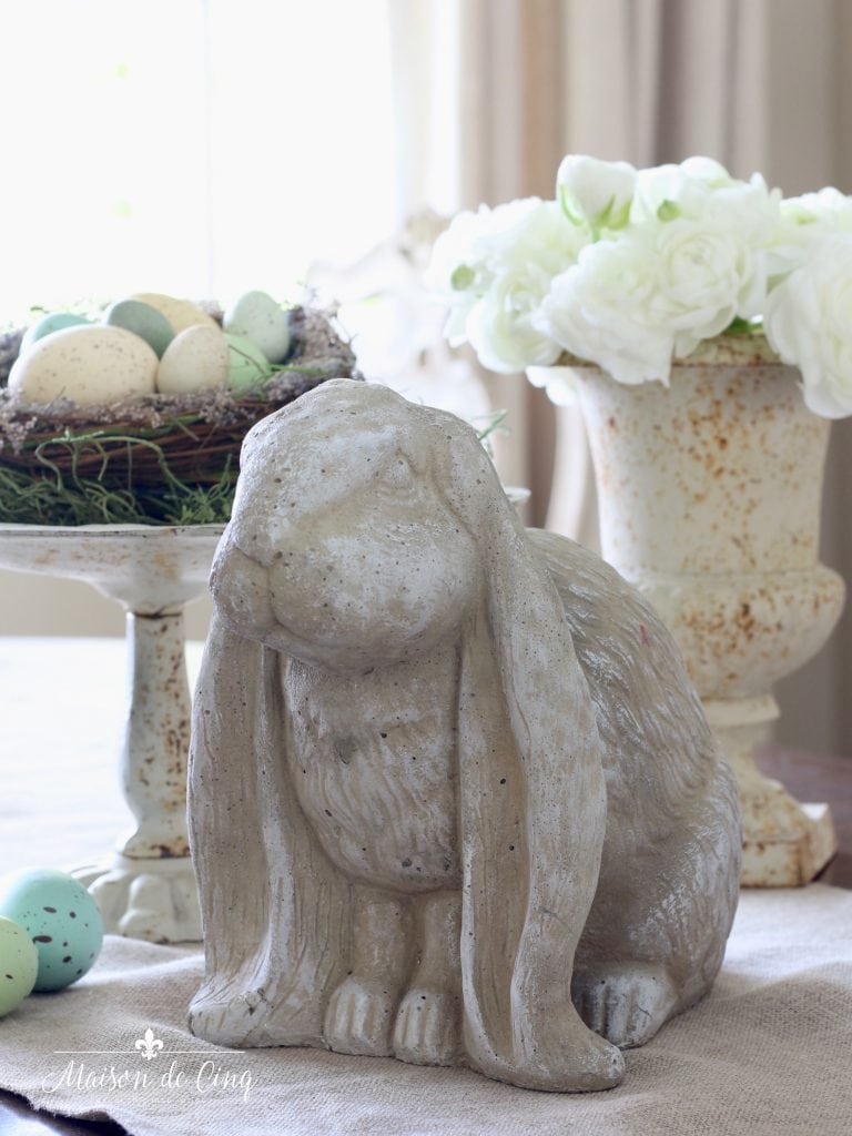spring decor vintage cement bunny adorable easter display