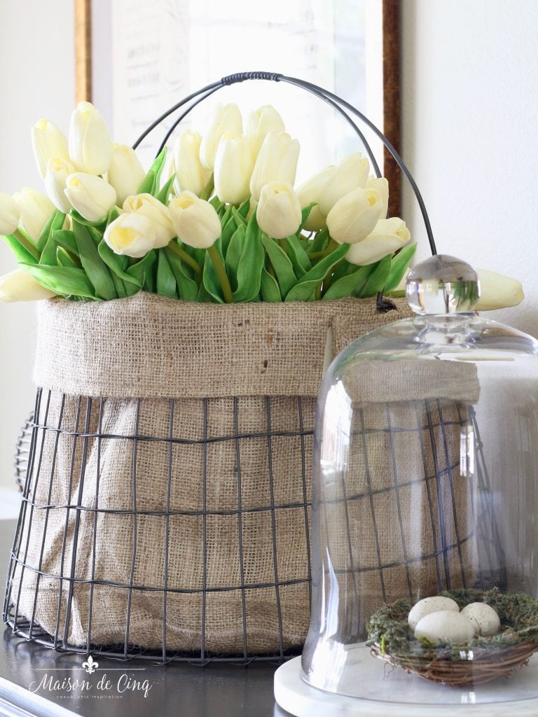 easter spring decor cute wire basket with tulips