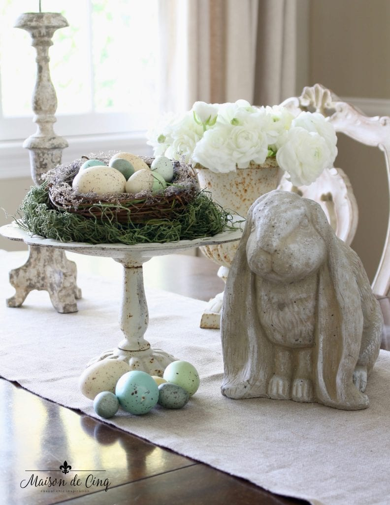 spring dining room display bunny pedestal with eggs and nest easter decorating