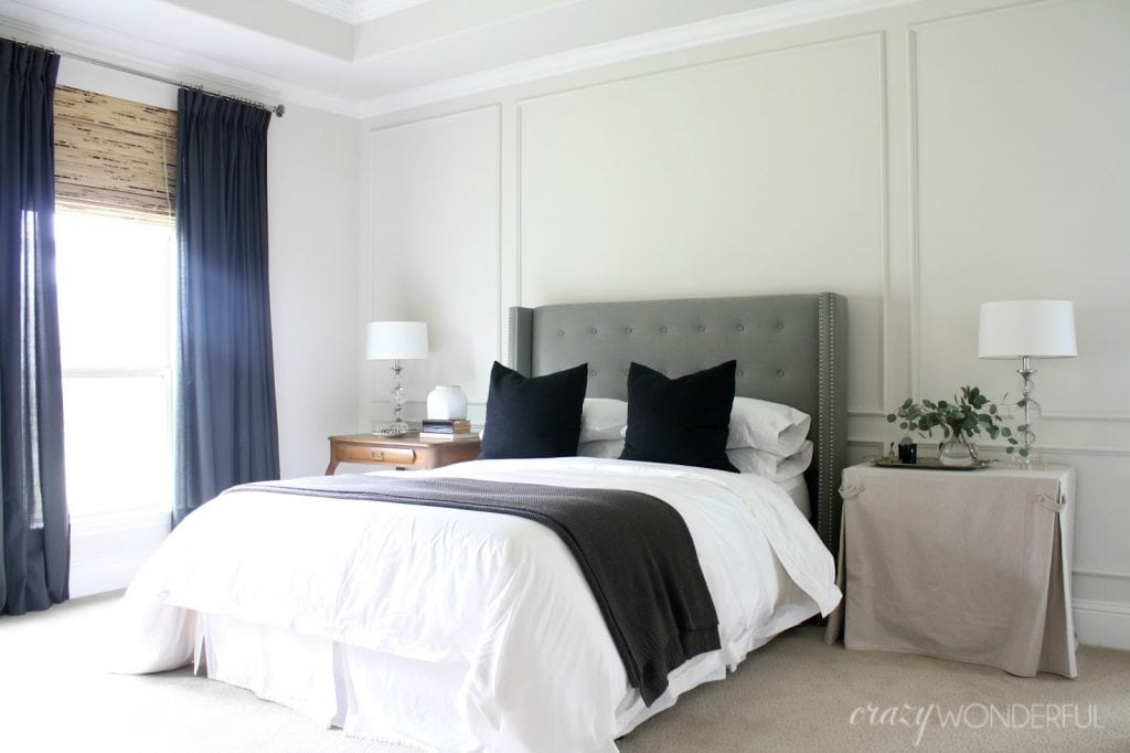 master bedroom picture molding wainscoting wall treatment