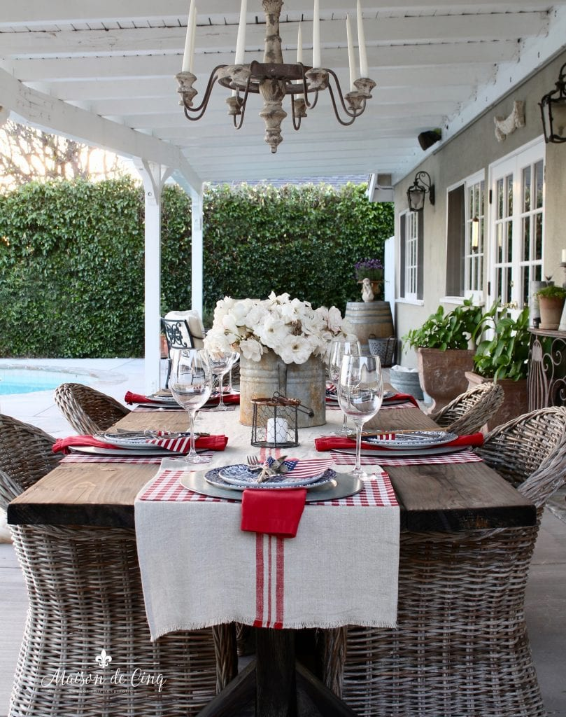 patriotic table setting french country inspired backyard table and wicker chairs with chandelier