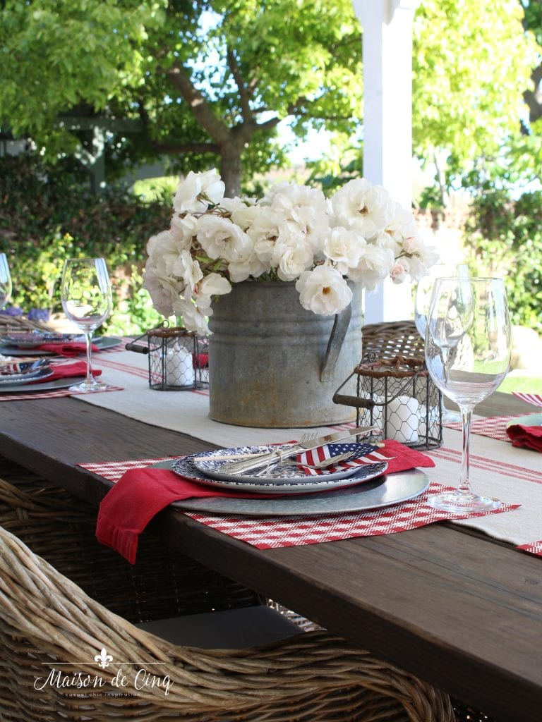 patriotic table setting for july fourth red white and blue