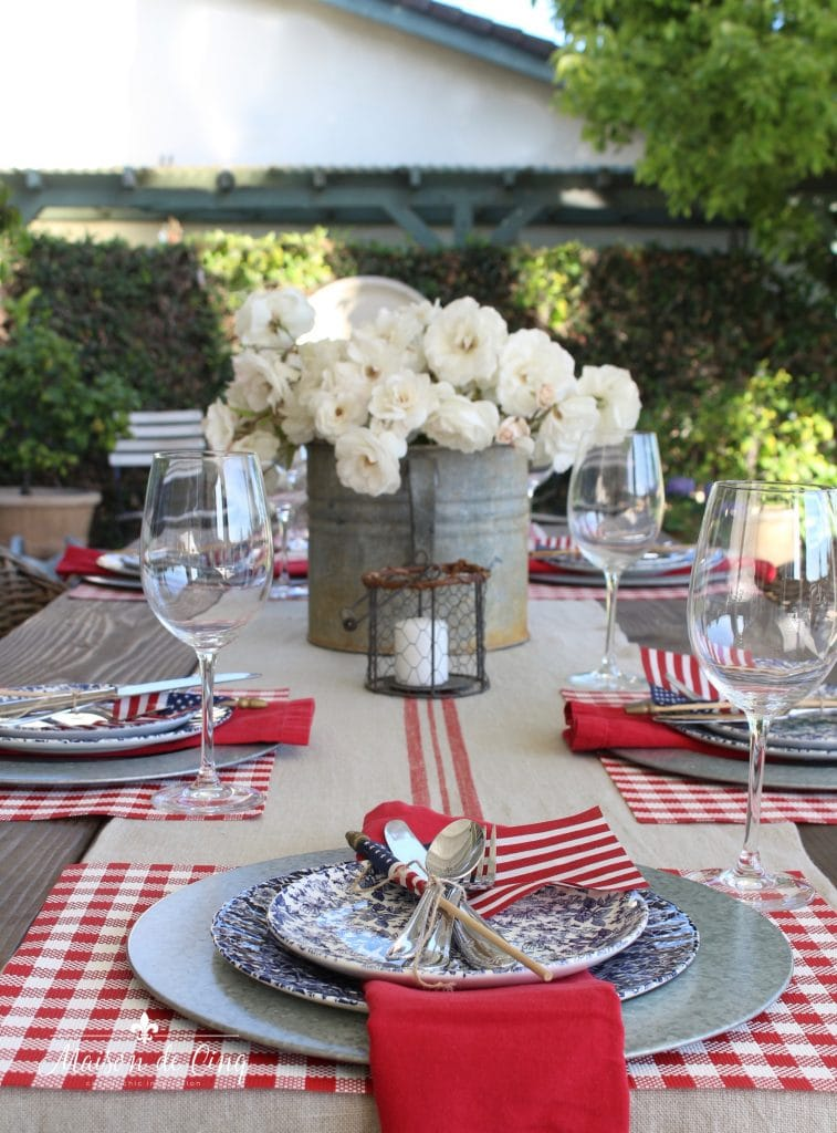 patriotic table setting fourth of july backyard red and blue