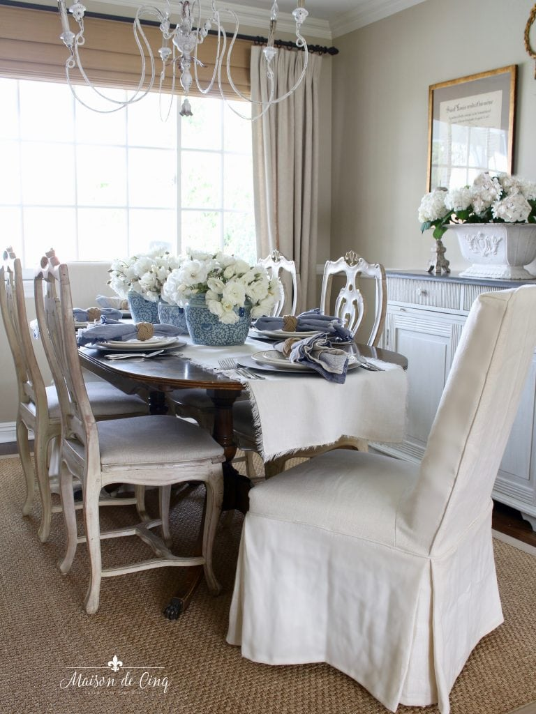 summer table setting in gorgeous french country dining room