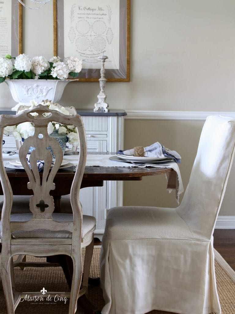 summer table setting french country dining room white flowers