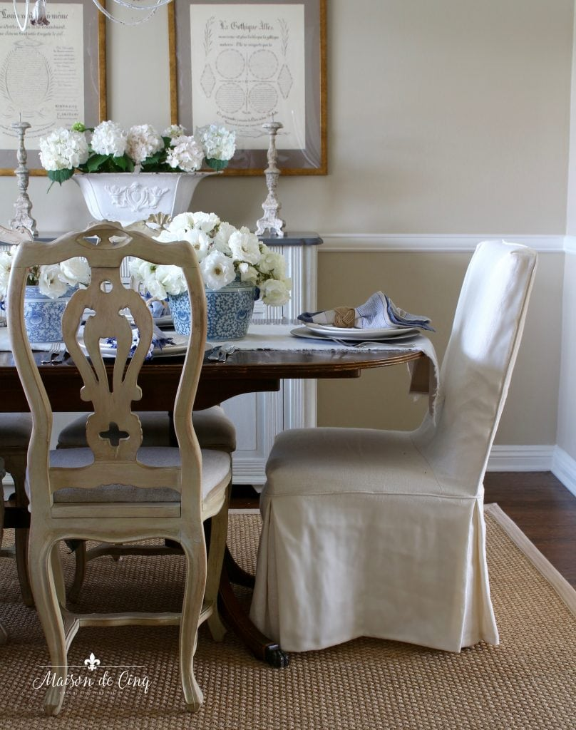summer table setting blue and white in gorgeous french country dining room