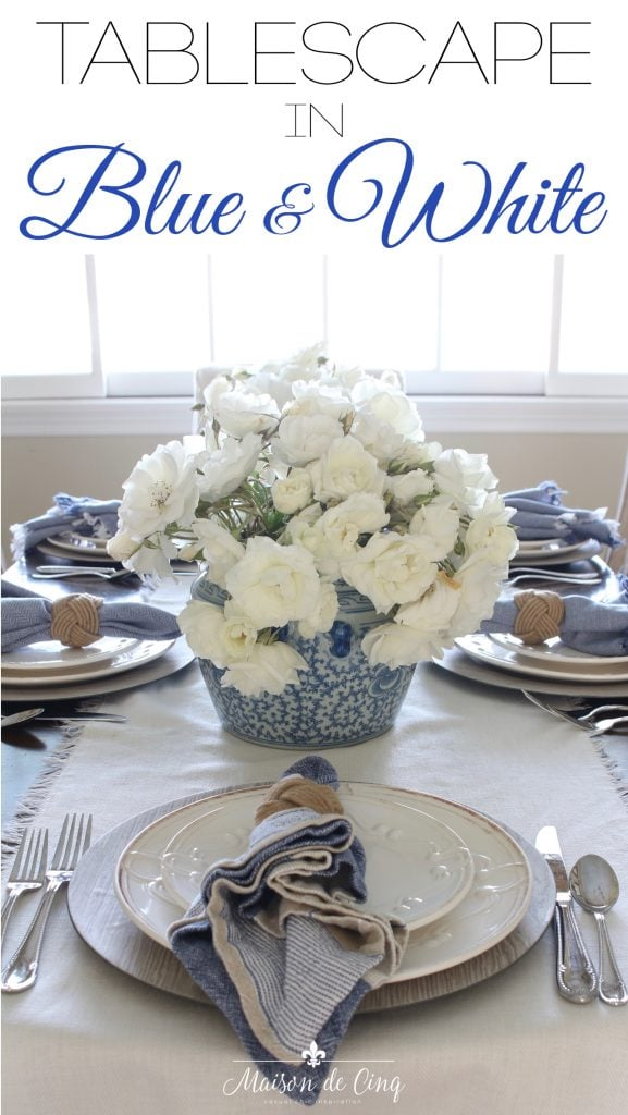 Simple yet Elegant Summer Table Setting in Blue & White graphic Maison de Cinq