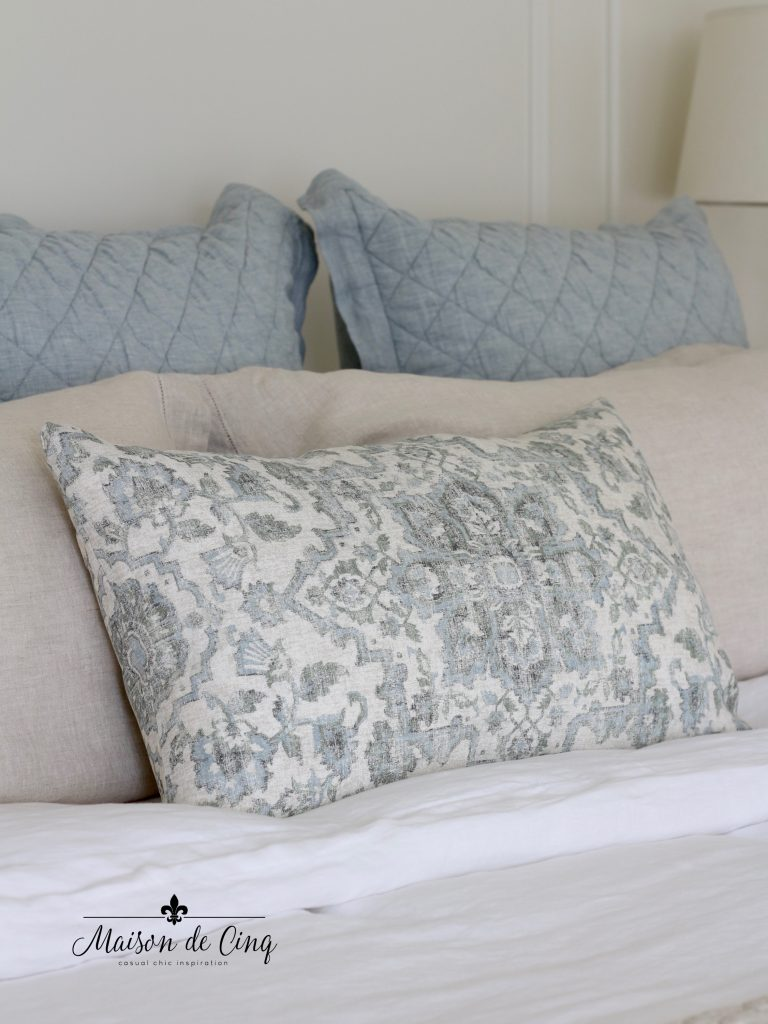 pottery barn linen bedding in french country master bedroom