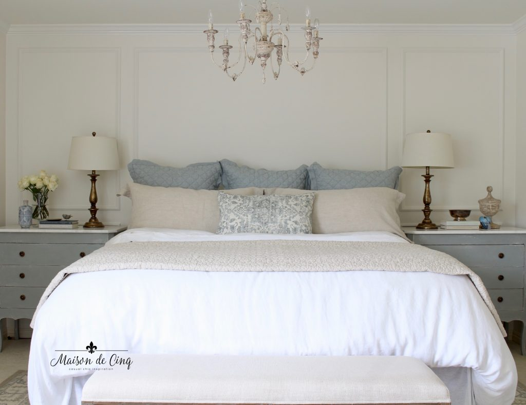 gorgeous blue and white master bedroom makeover