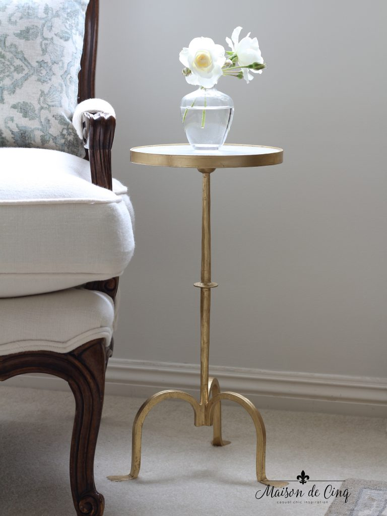 french country master bedroom small side table gold and marble