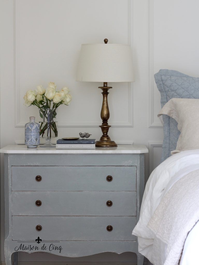 blue and white french country master bedroom makeover