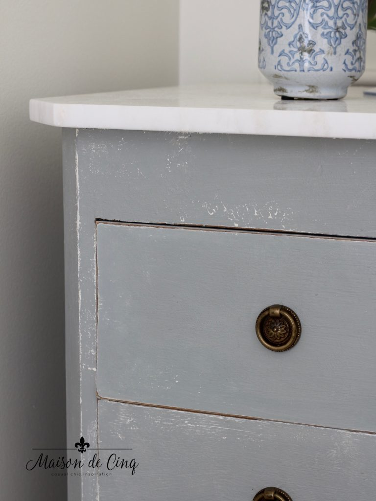 blue dresser in french country master bedroom chalk paint