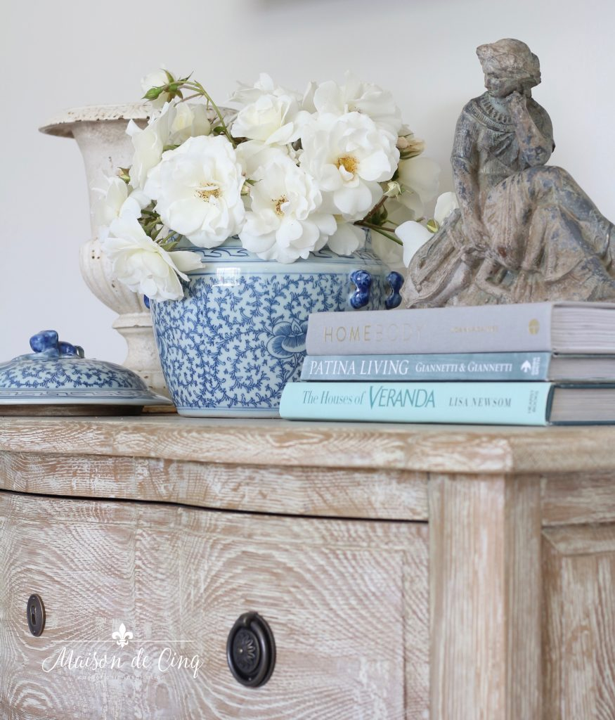 gorgeous French country dresser with vignette flowers and ginger jar organizing tips and hacks for the bedroom