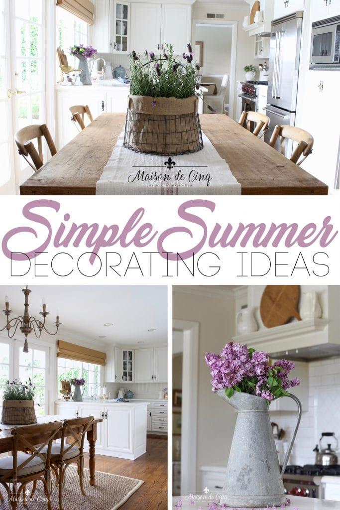 simple summer decorating ideas on Maison de Cinq white kitchen with purple summer flowers