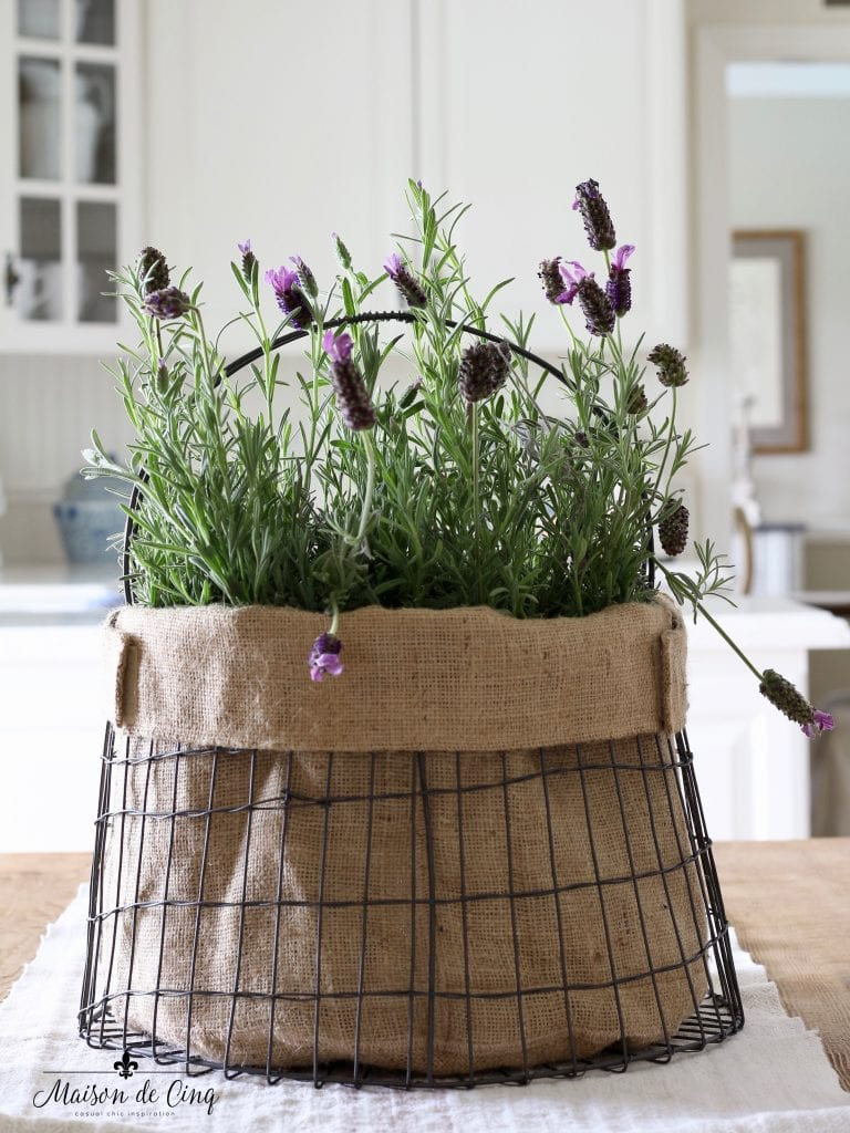 simple summer decorating lavender in basket with burlap liner white farmhouse kitchen