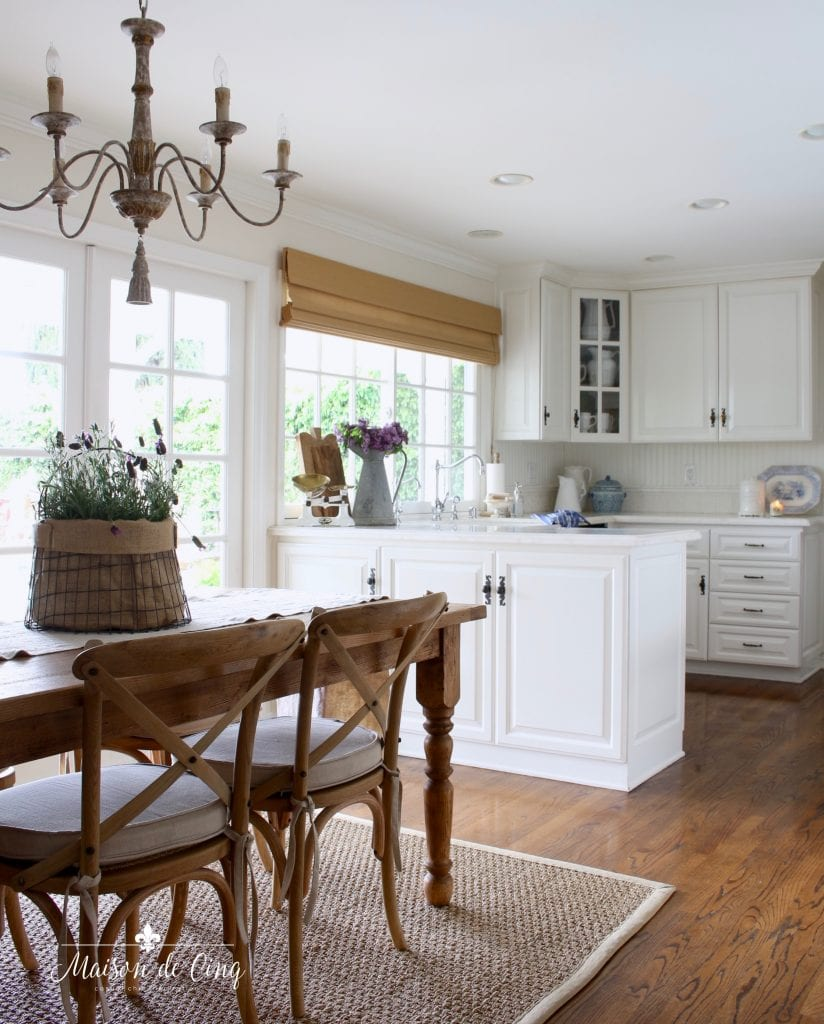 simple summer decorating white french country farmhouse kitchen