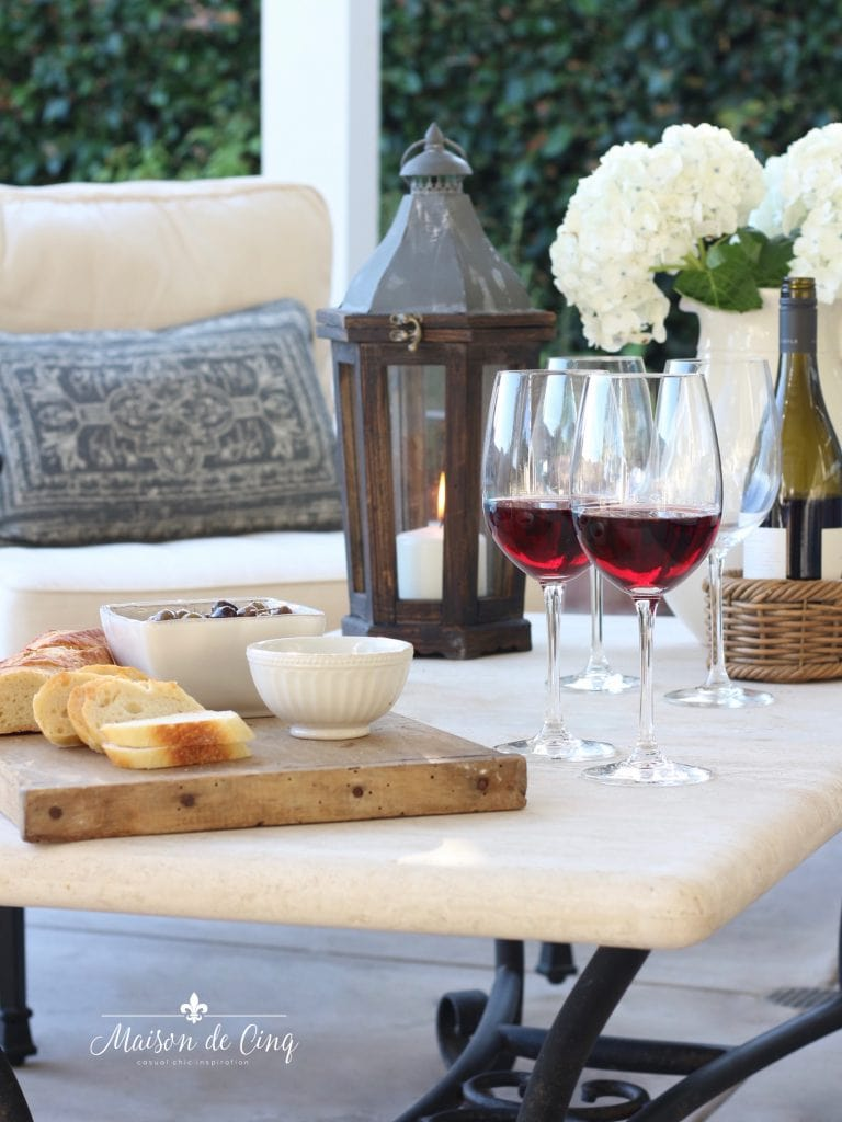 summer entertaining wine and nibbles on the patio