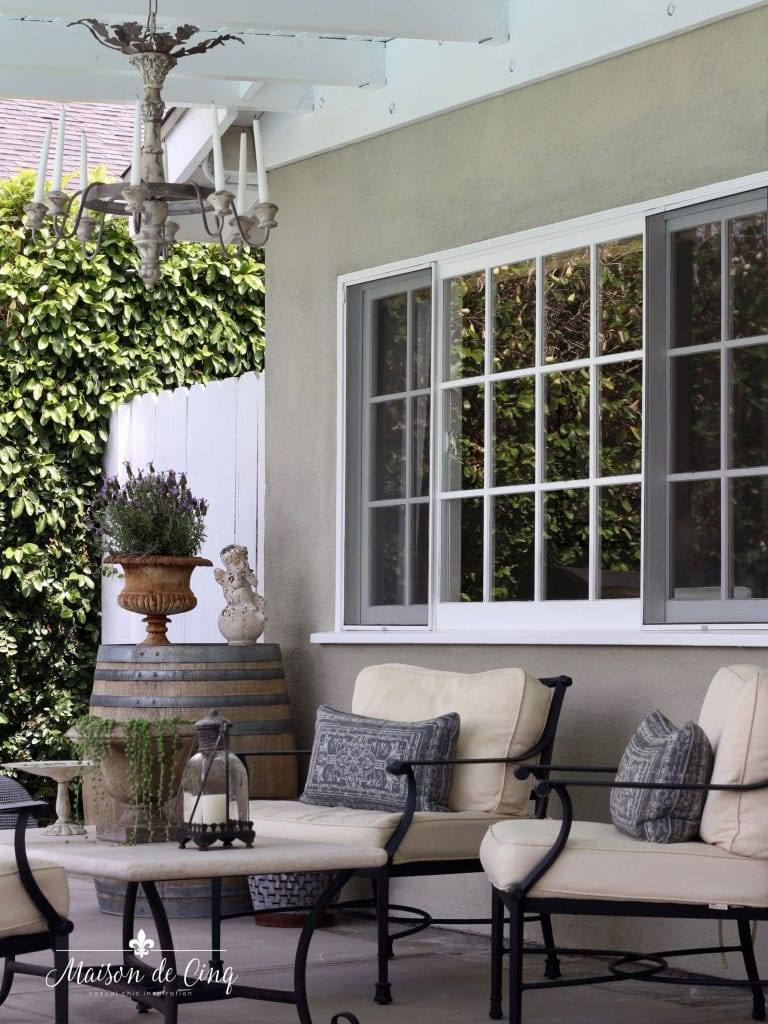 outdoor patio area lounge furniture romantic chandeliers