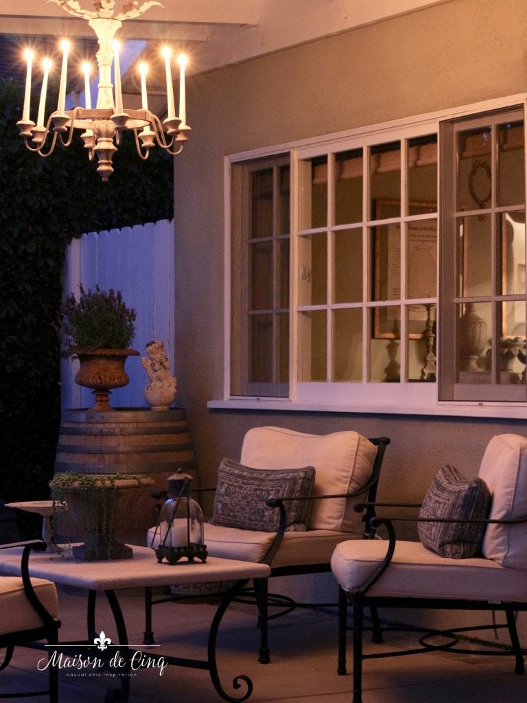 outdoor chandelier romantic patio setting backyard with chairs and coffee table summer nights