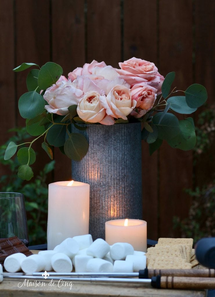 summer outdoor entertaining roses candles s'mores