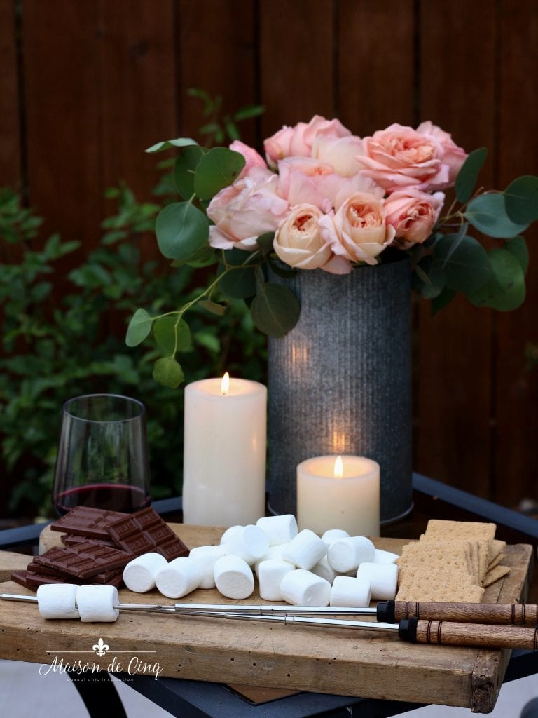 summer outdoor entertaining ideas s'mores and wine by the fire