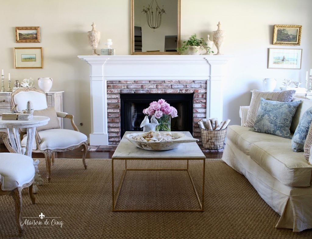 summer decorating ideas french farmhouse living room with touches of blue and pink peonies